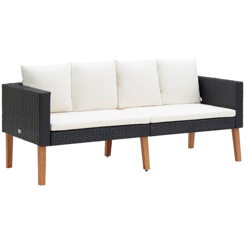 Canapé de jardin à 2 places avec coussins Résine tressée Noir