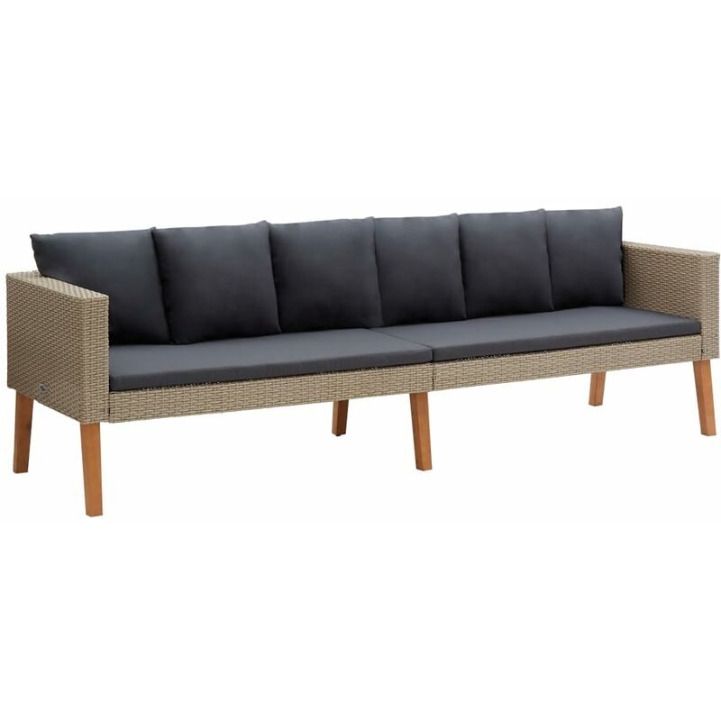 Canapé de jardin à 3 places avec coussins Résine tressée Beige