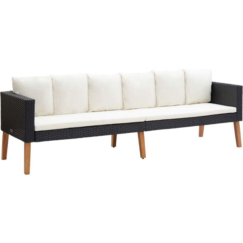 Canapé de jardin à 3 places avec coussins Résine tressée Noir