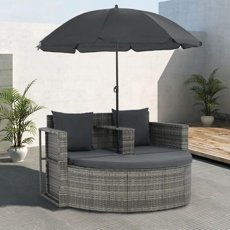 True Deal - Canapé de jardin avec coussins et parasol Gris Résine tressée