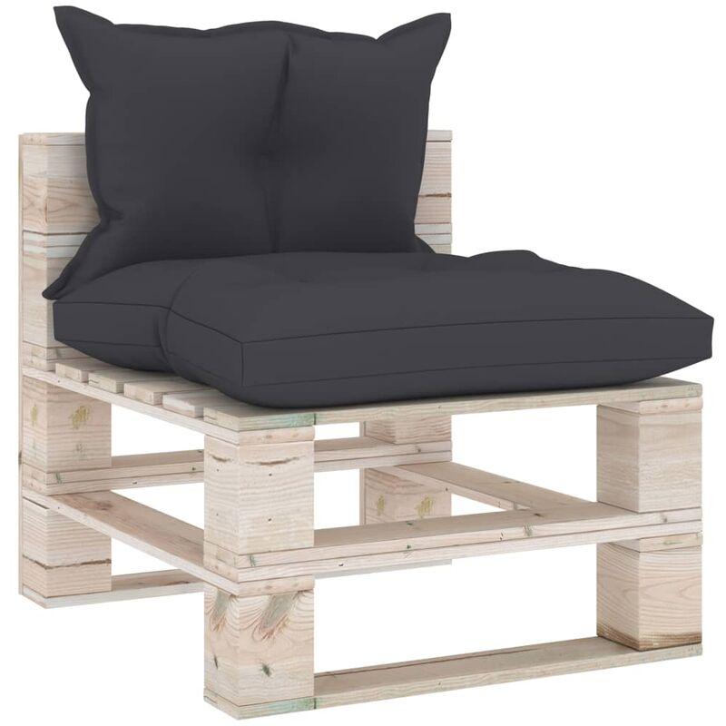 True Deal - Canapé de milieu palette de jardin avec coussins Bois de pin