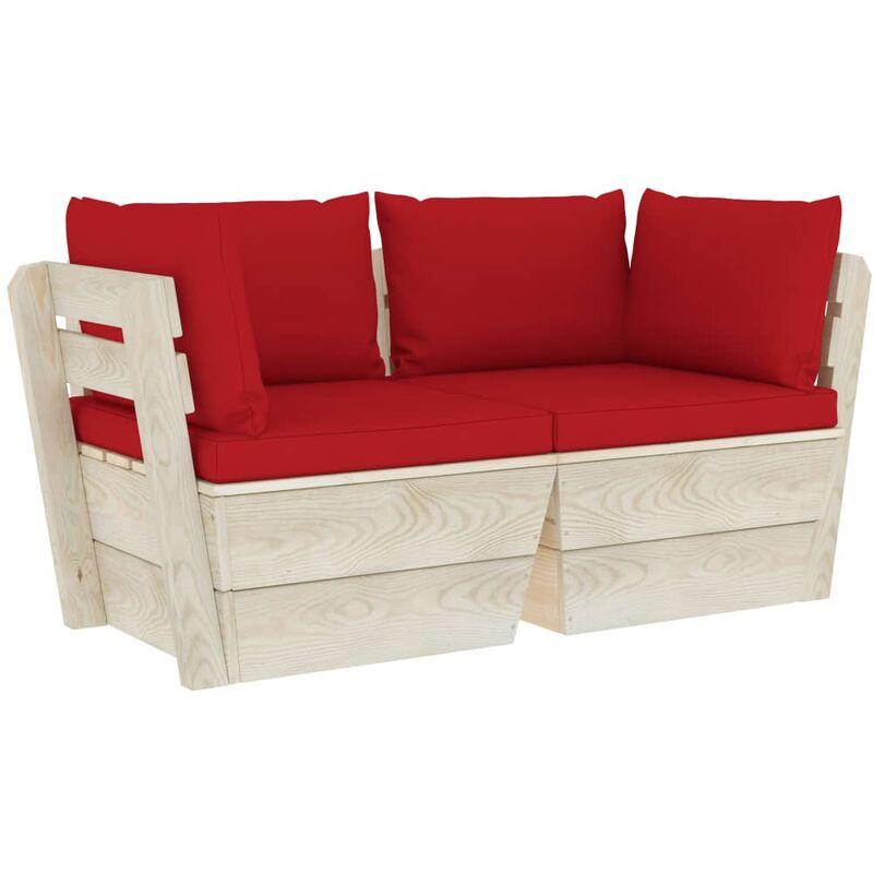 Canapé palette à 2 places de jardin avec coussins Bois d'épicéa
