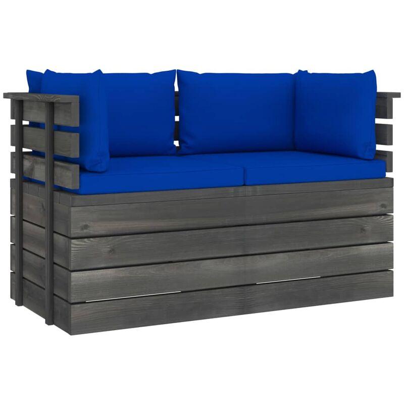 Canapé palette de jardin 2 places avec coussins Bois de pin