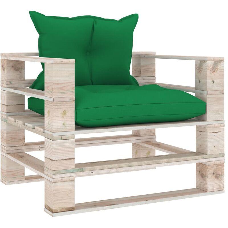 True Deal - Canapé palette de jardin avec coussins vert Bois de pin