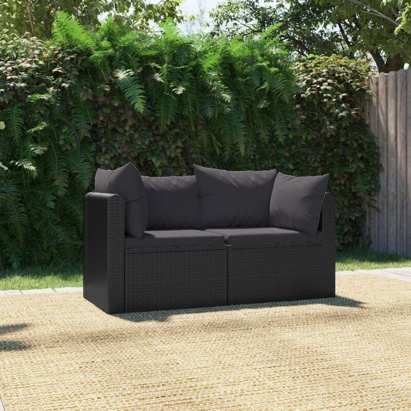 Canapés de jardin 2 pcs avec coussins Résine tressée Noir