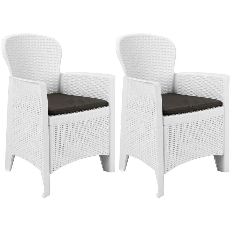 True Deal - Chaise de jardin 2 pcs et coussin Blanc Plastique Aspect rotin