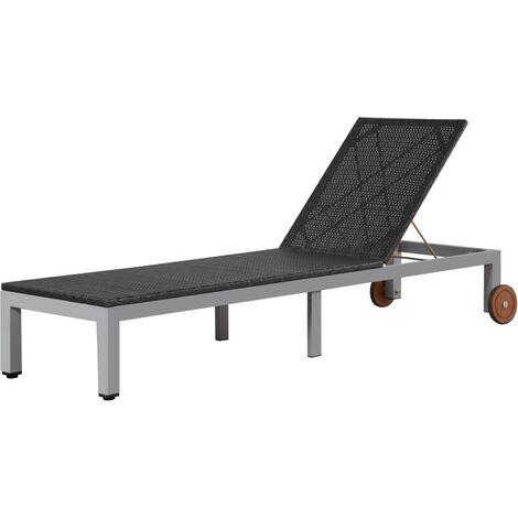 True Deal Chaise longue avec roues Résine tressée Noir