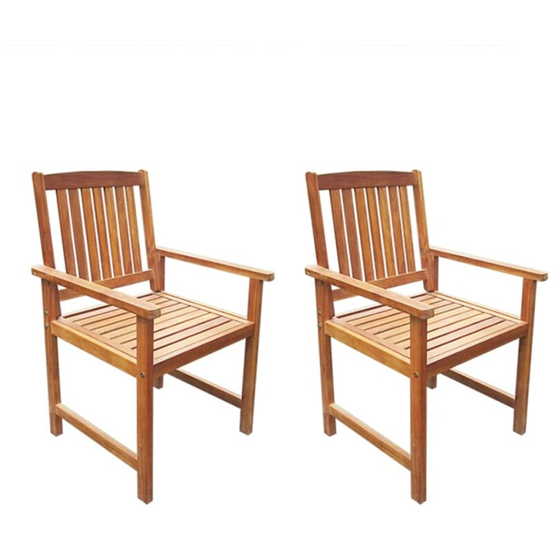 True Deal Chaises de jardin 2 pcs Bois d'acacia massif Marron