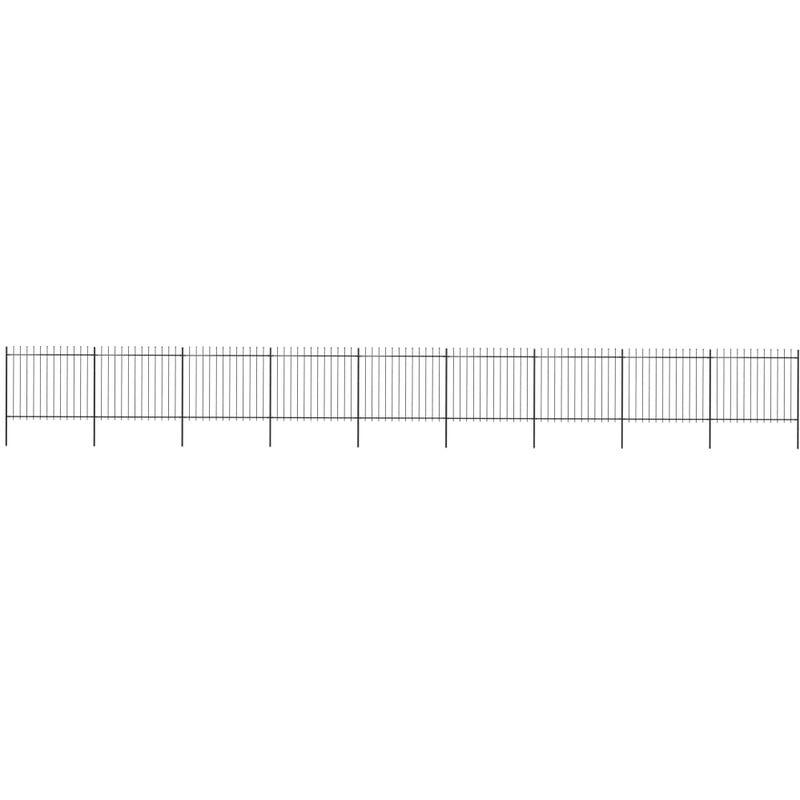 Clôture de jardin avec dessus en lance Acier 15,3 x 1,5 m Noir - True Deal