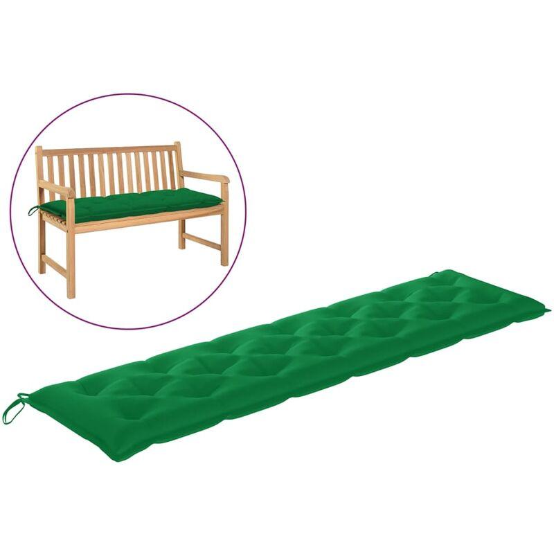 Coussin de banc de jardin Vert 200x50x7 cm Tissu
