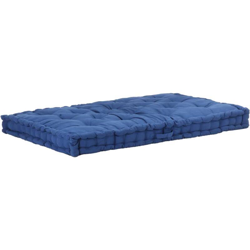 Coussin de plancher de palette Coton 120x80x10 cm Bleu clair