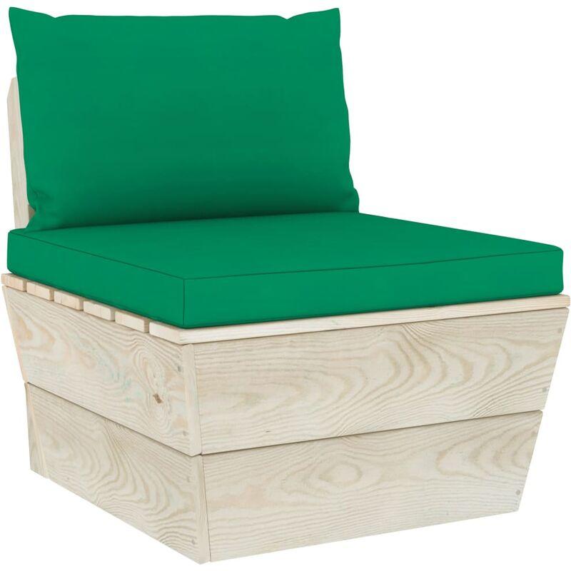 Coussins de canapé palette 2 pcs Vert Tissu