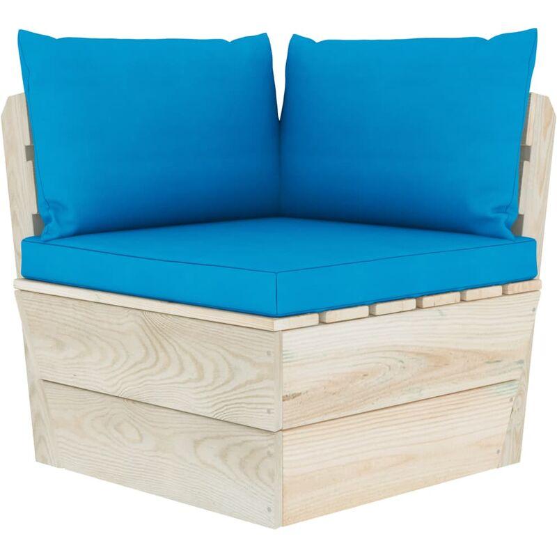 Coussins de canapé palette 3 pcs Bleu clair Tissu