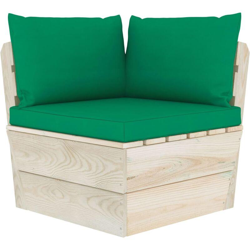 Coussins de canapé palette 3 pcs Vert Tissu