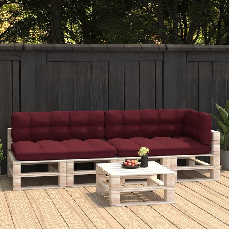 Coussins de canapé palette 5 pcs Rouge bordeaux