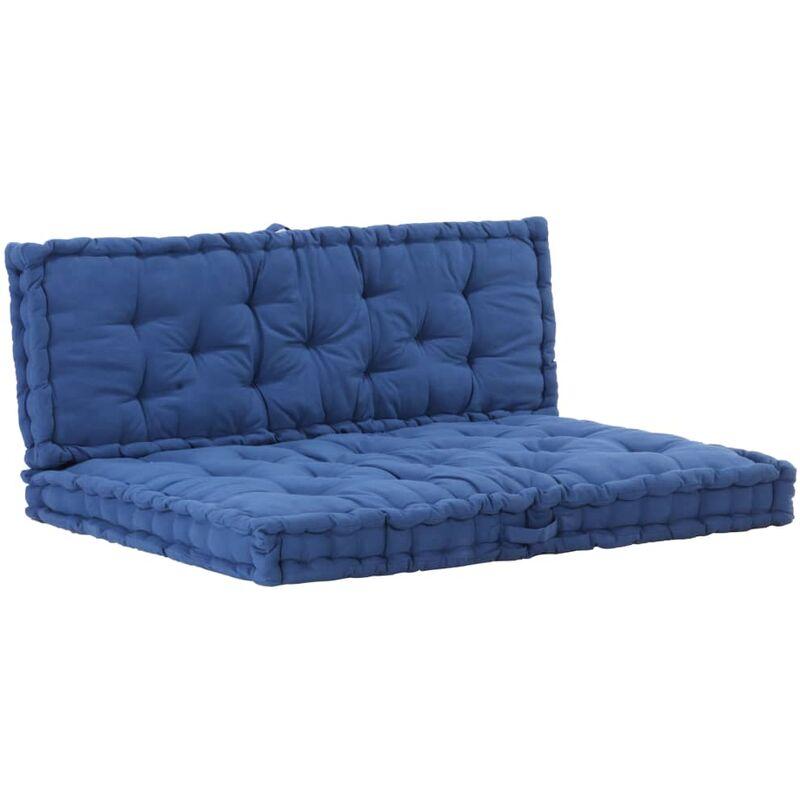 Coussins de plancher de palette 2 pcs Coton Bleu clair