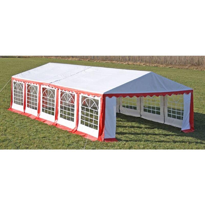 True Deal Dessus de tente de réception avec panneaux 10x5m Rouge et blanc