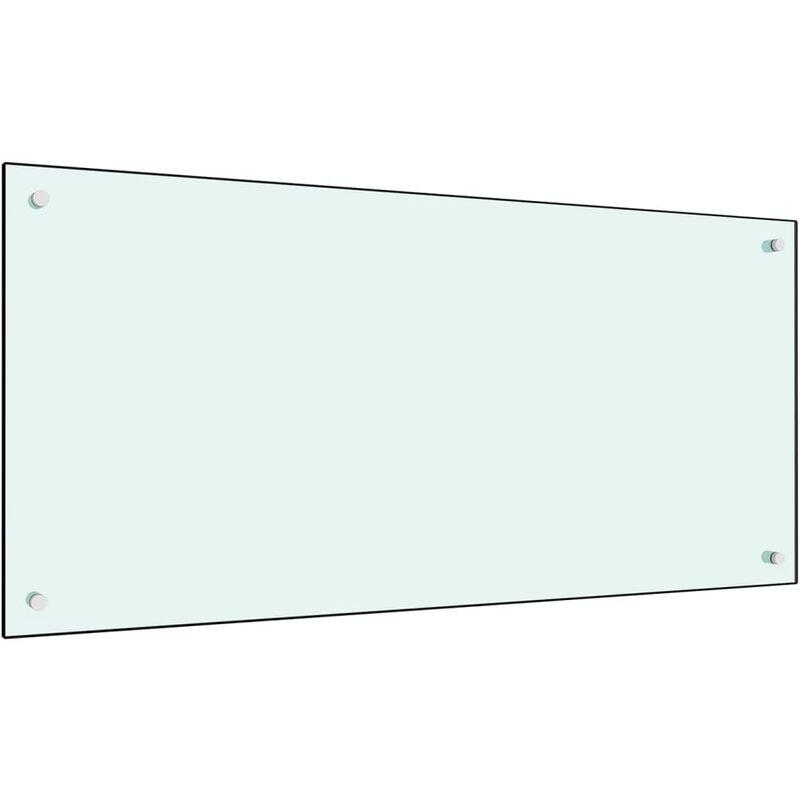 Dosseret de cuisine Blanc 100 x 50 cm Verre trempé