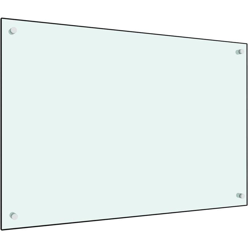 Dosseret de cuisine Blanc 90 x 60 cm Verre trempé