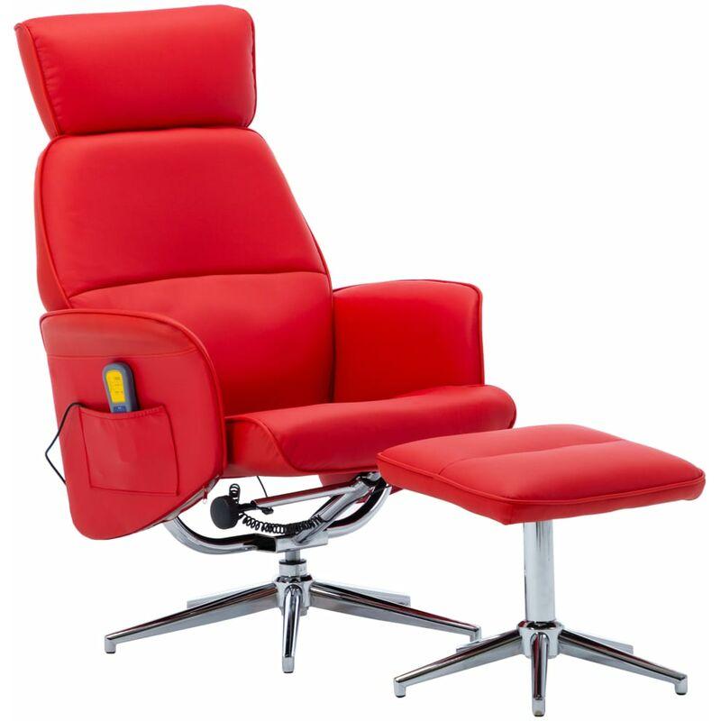 True Deal - Fauteuil de massage inclinable et repose-pied Rouge Similicuir