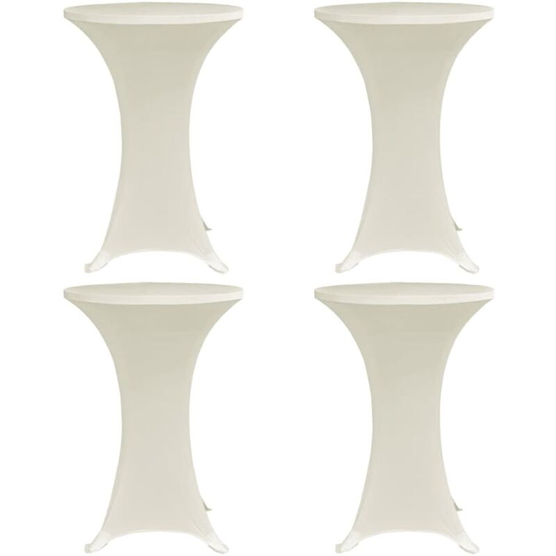 Housses élastiques de table Ø 70 cm Crème 4 pcs