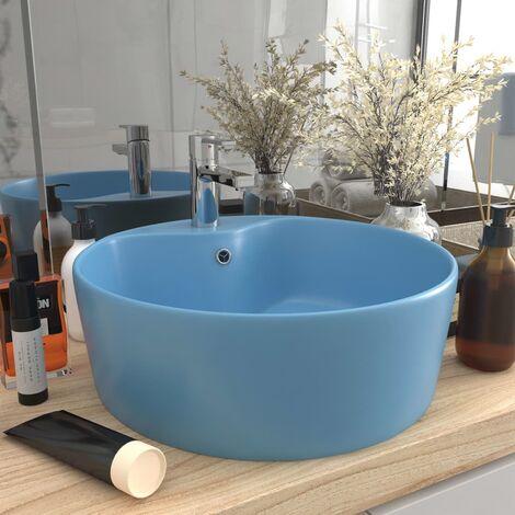 True Deal Lavabo de luxe avec trop-plein Bleu clair mat 36x13cm Céramique