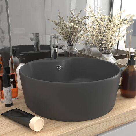 True Deal Lavabo de luxe avec trop-plein Gris foncé mat 36x13cm Céramique