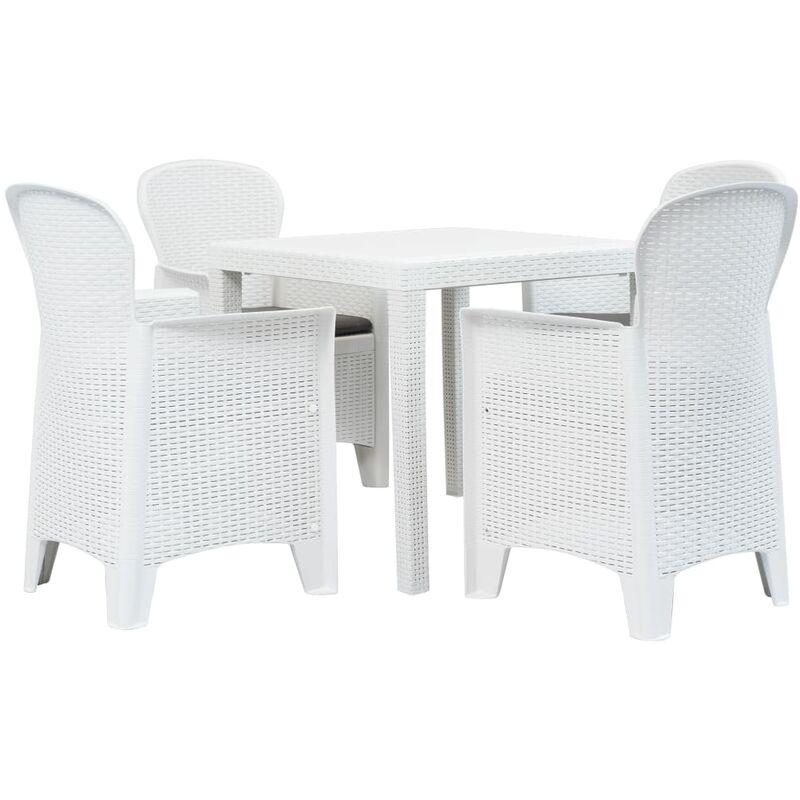 True Deal - Meuble à dîner d'extérieur 5pcs Plastique Blanc Aspect de rotin