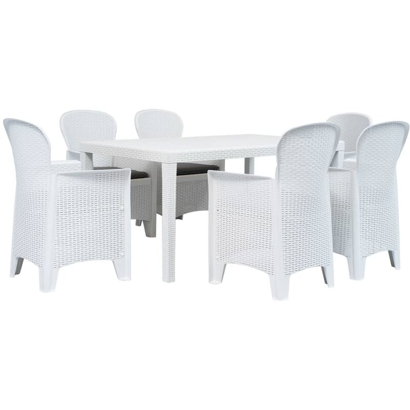 True Deal - Meuble à dîner d'extérieur 7pcs Plastique Blanc Aspect de rotin