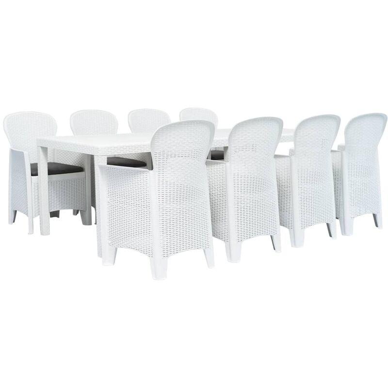 True Deal - Meuble à dîner d'extérieur 9pcs Plastique Blanc Aspect de rotin