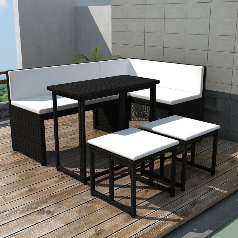 True Deal - Mobilier à dîner d'extérieur 5 pcs Acier Résine tressée Noir