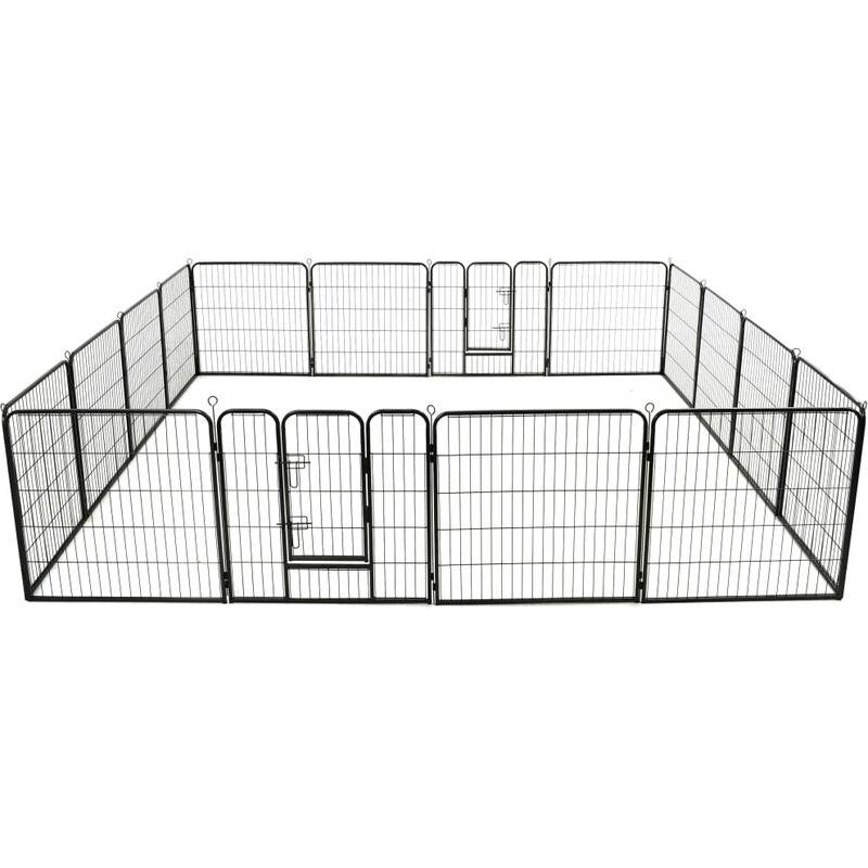 Parc pour chiens 16 panneaux Acier 80 x 80 cm Noir