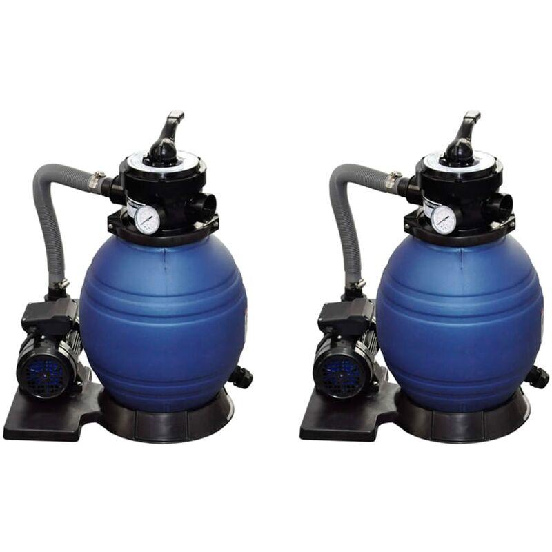 True Deal Pompes à filtre à sable 2 pcs 400 W 11000 l/h