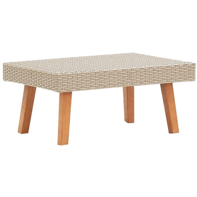 Table basse de jardin Résine tressée Beige