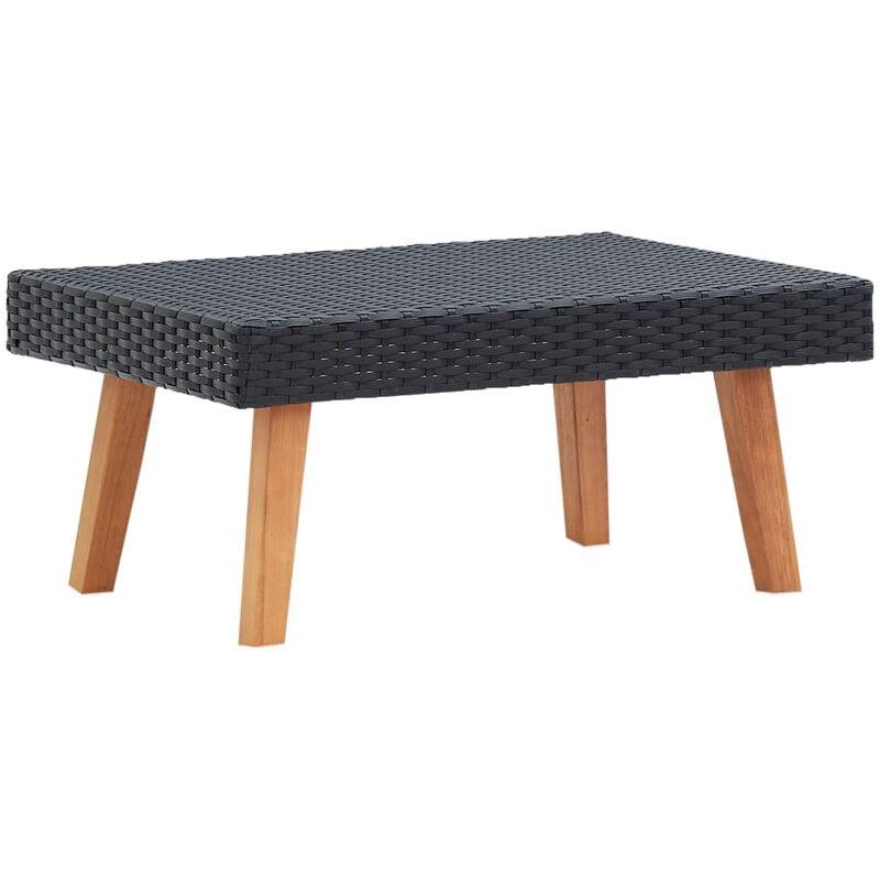 Table basse de jardin Résine tressée Noir