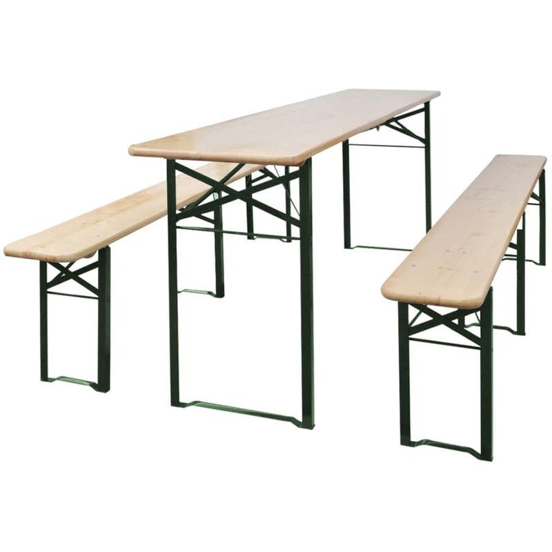 Table de brasserie pliable avec 2 bancs 220 cm Bois de sapin - True Deal