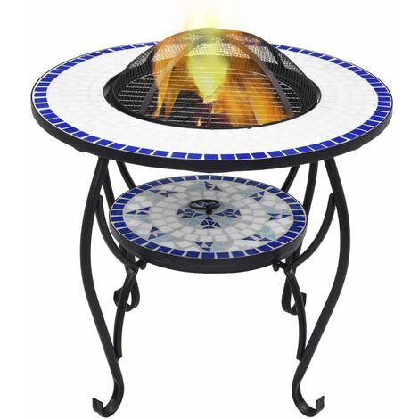 True Deal Table de foyer mosaïque Bleu et blanc 68 cm Céramique