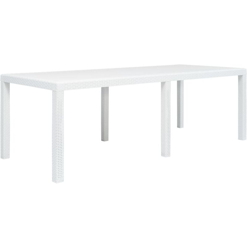 True Deal - Table de jardin Blanc 220x90x72 cm Plastique Aspect de rotin