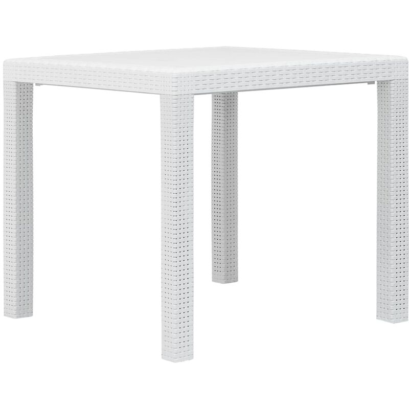 True Deal - Table de jardin Blanc 79x79x72 cm Plastique Aspect de rotin