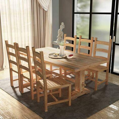True Deal Table et chaises de salle à manger massives 7 pièces Teck