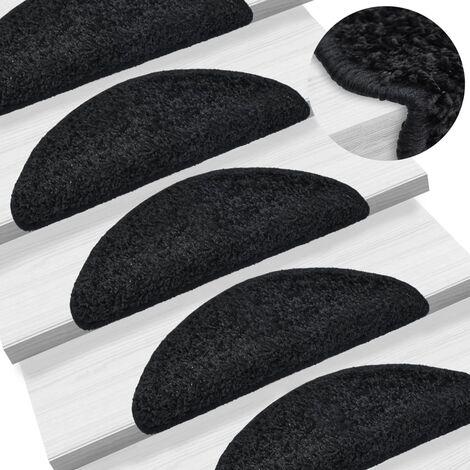 True Deal Tapis d'escalier 15 pcs Noir 56 x 20 cm