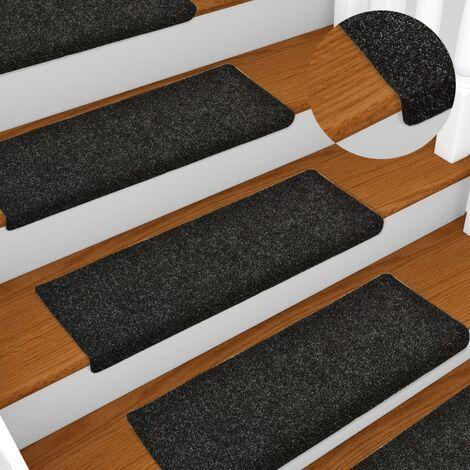 True Deal Tapis d'escalier 15 pcs Tissu aiguilleté 65x25 cm Noir