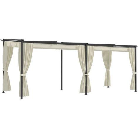 True Deal Tonnelle avec rideaux 3x6 m Crème Acier