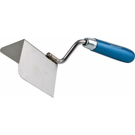 Truelle d'angle ext 90° 80x60mm inoxydable manche bleu
