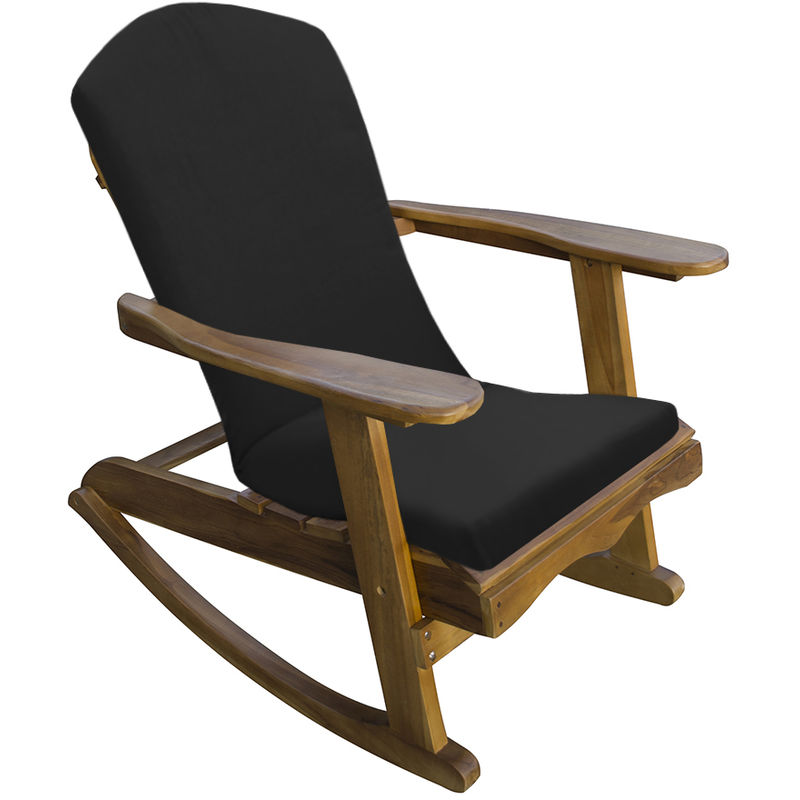 Awesome Trueshopping Adirondack Teak Hardwood Garden Rocking Chair With Black Cushion Squirreltailoven Fun Painted Chair Ideas Images Squirreltailovenorg