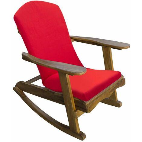 Trueshopping Chaise à Bascule pour Jardin Adirondack en Teck Avec Coussin