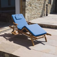 Trueshopping Four Section Blue Luxury Cushion for Amalfi adjustable Sun Lounger