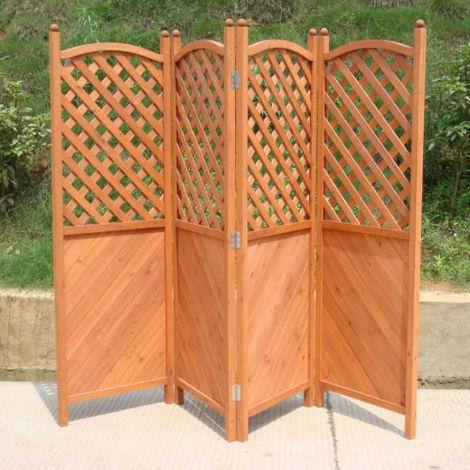 "main image of ""Trueshopping Outdoor Screen Three Panel Wooden Half Latticed Privacy Screen"""