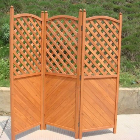 Trueshopping Outdoor Screen Three Panel Wooden Half Latticed Privacy Screen