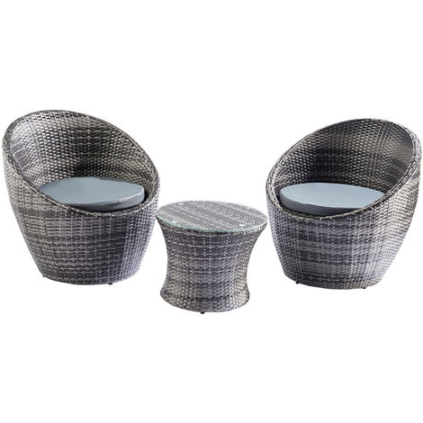 Trueping Toledo 3 Piece Rattan Egg Vase Set Bistro Garden Furniture In Grey
